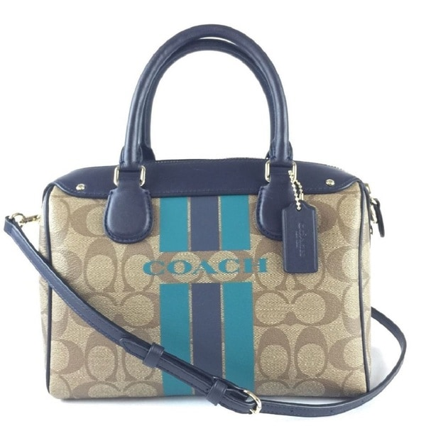 Coach 38401 Khaki and Midnight Leather Varsity Stripe Mini Bennet Satchel