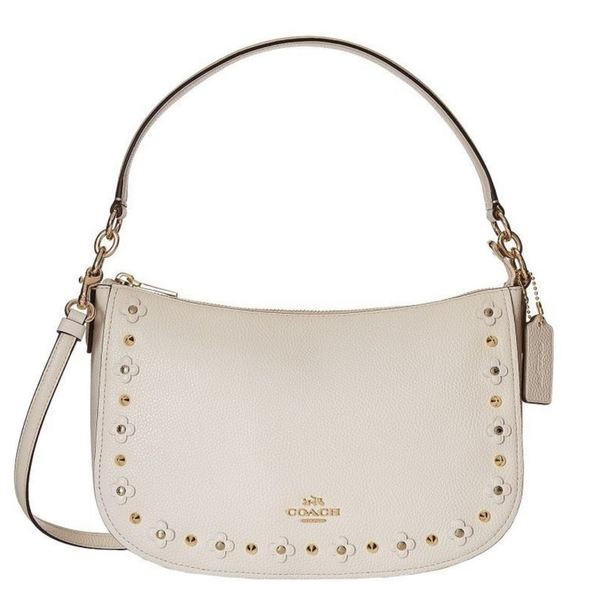 Coach Ivory Leather Floral Rivets Chelsea Hobo Bag