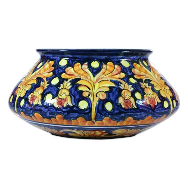 Handcrafted Ceramic 'Golden Splendor' Flower Pot (El Salvador) 21784993