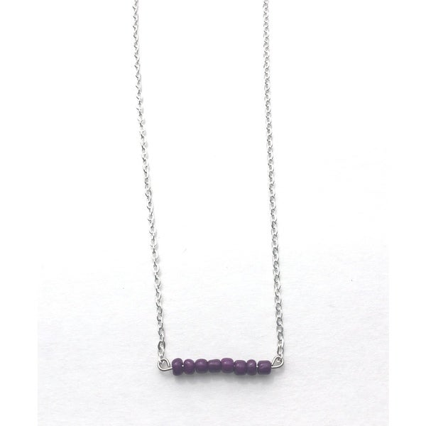 Purple Beaded Game Day Necklace
