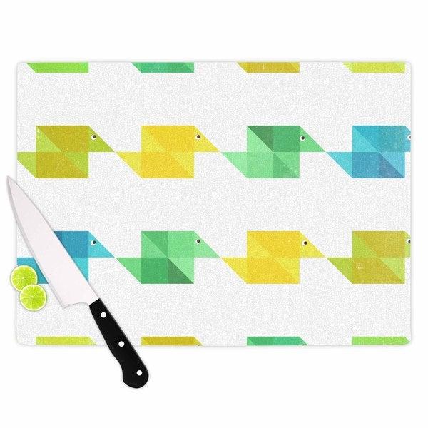 KESS InHouse Cvetelina Todorova 'Duck Pattern' White Teal Green Cutting Board