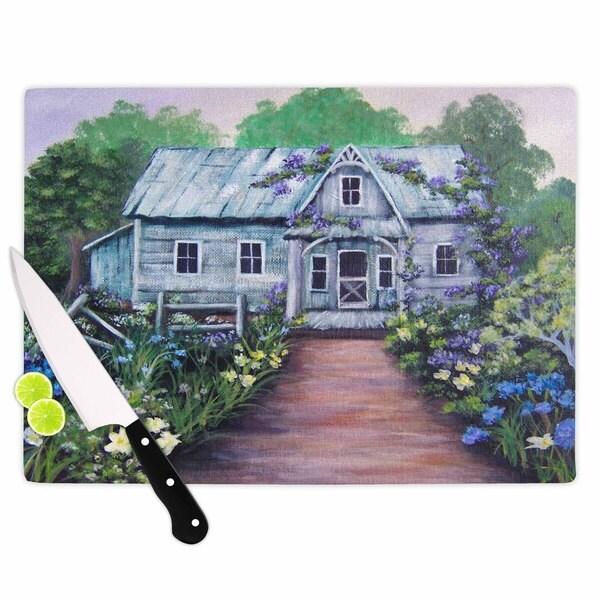 KESS InHouse Cyndi Steen 'Ivy Cottage Again' Grey Purple Cutting Board