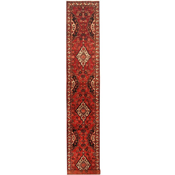 Herat Oriental Persian Hand-knotted Tribal Hamadan Wool Runner (2'9 x 17'4) - 2'9 x 17'4 21789886