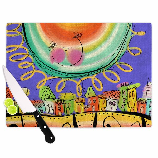 KESS InHouse Carina Povarchik Sun - Violet Yellow Purple Cutting Board