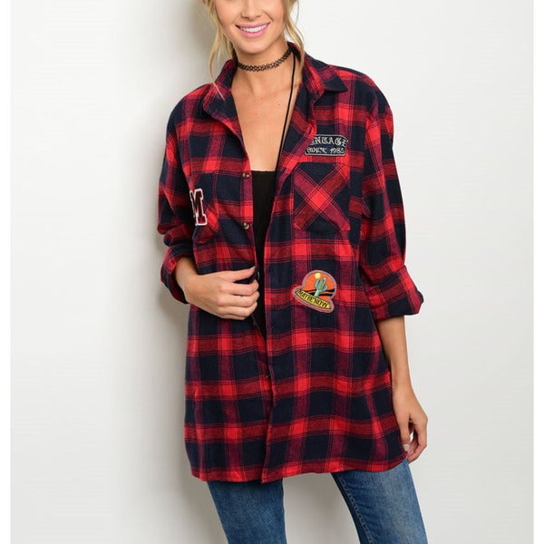 JED Women's Boyfriend-fit Patchwork Plaid Red/Green Polyester Button-down Shirt