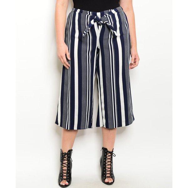 JED Women's Navy and White Plus Size Striped Ankle Length Trousers with Waist Tie