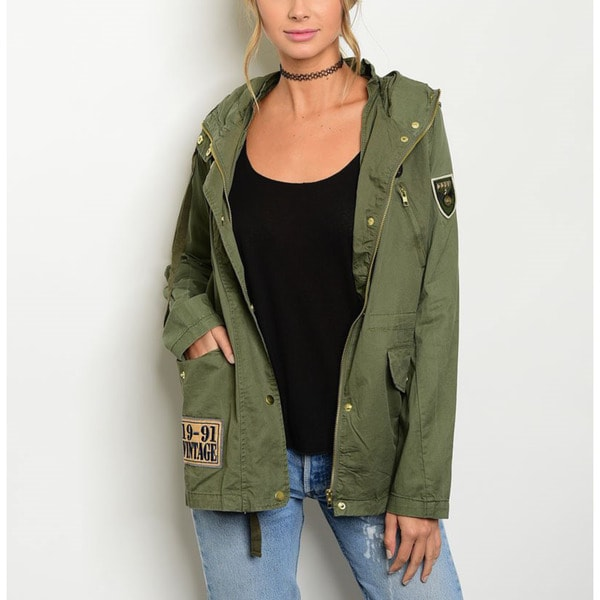 JED Women's Black/Olive Green Cotton Vintage-inspired Zip-front Cargo Hooded Jacket