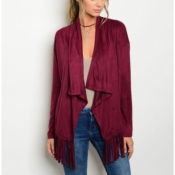 JED Women's Wine Red egan Suede Fringe Waterfall Cardigan
