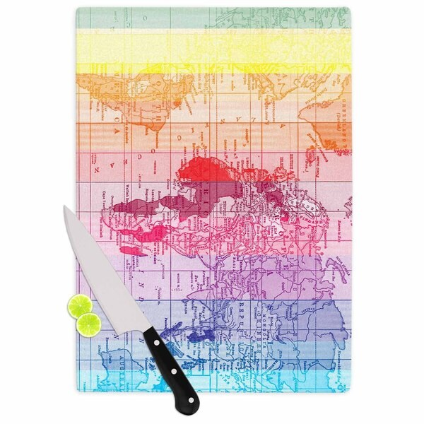 KESS InHouse Catherine Holcombe 'Rainbow World Map' Multicolor Travel Cutting Board