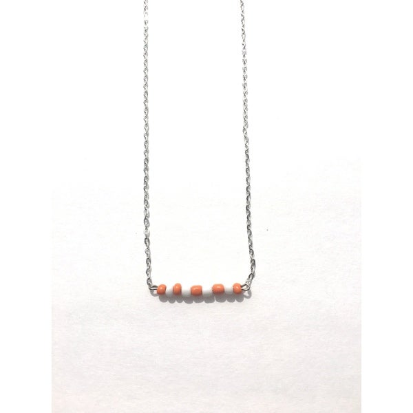 Orange and White Beaded Game Day Necklace
