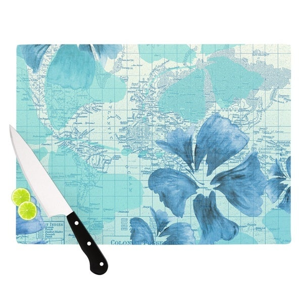 KESS InHouse Catherine Holcombe 'Flower Power Blue' Aqua Map Cutting Board