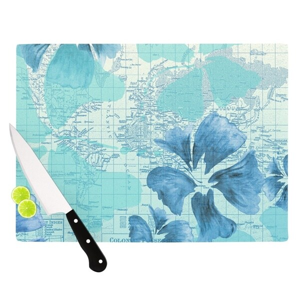 KESS InHouse Catherine Holcombe 'Flower Power Blue' Aqua Map Cutting Board