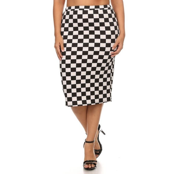 Women's Black and White Polyester and Spandex Plus-size Tile Pencil Skirt