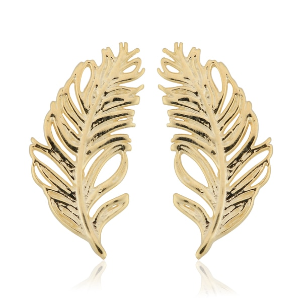 Fremada Italian 10k Yellow Gold Feather Stud Earrings 21791746