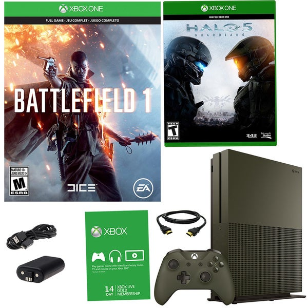 Xbox One S 1TB Battlefield 1 Green Bundle With Halo 5 Guardians and Battery Pack 21792797
