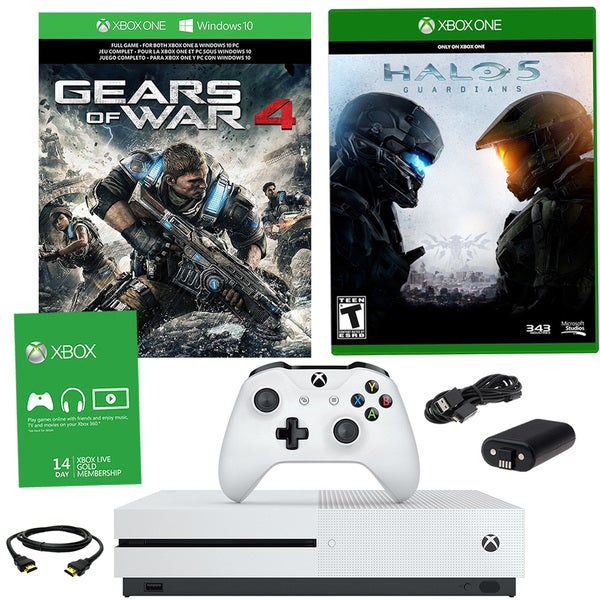 Xbox One S 1TB Gears of War 4 Bundle With Halo 5 Guardians and Battery Pack 21792818