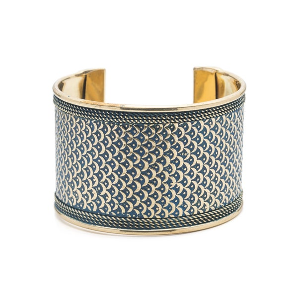 Art Deco Scallop Cuff - Blue