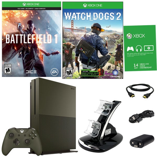Xbox One S 1TB Battlefield 1 Green Bundle With Watchdogs 2 and Accessories 21792829