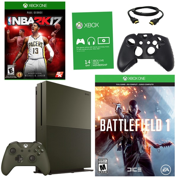 Xbox One S 1TBGB Battlefield 1 Green Bundle With NBA 2K17 and Accessories 21792853
