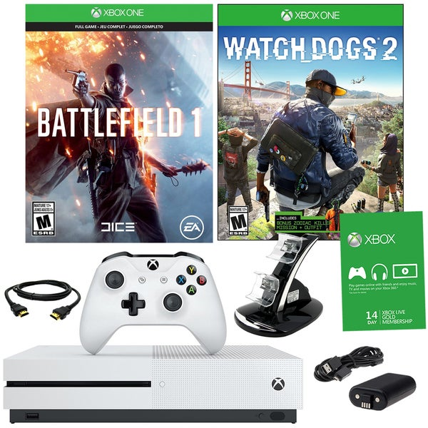 Xbox One S 500GB Battlefield 1 Bundle With Watchdogs 2 and Accessories 21792917