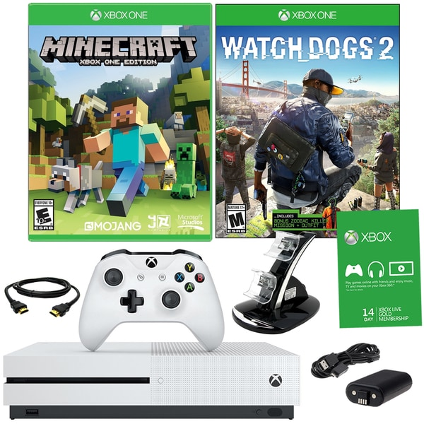 Xbox One S 500GB Minecraft Bundle With Watchdogs 2 and Accessories 21792926