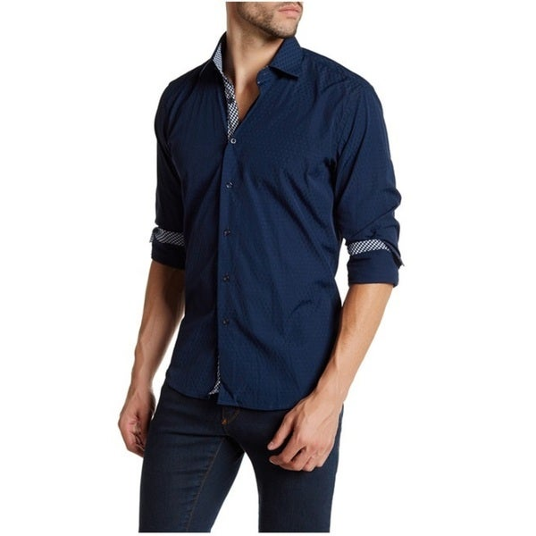 Suslo Couture Men's Classic Fit Navy Cotton Button Down Shirt