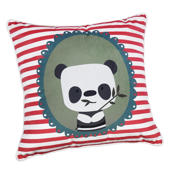 red and white polyester panda and bamboo throw pillow