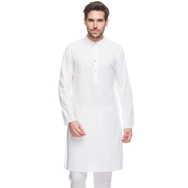 In-Sattva Men's Shatranj Indian White Geometric Banded Collar Long Kurta Tunic (India)