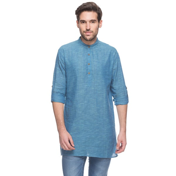 In-Sattva Men's Shatranj Indian Blue Textured Banded Collar Mid-length Kurta Tunic (India)