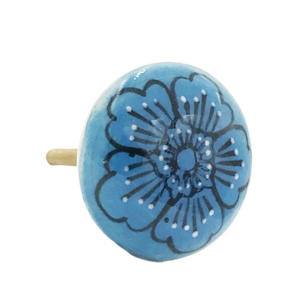 Sky Blue Flower Flat Ceramic Knobs (Set of 6) 21793978
