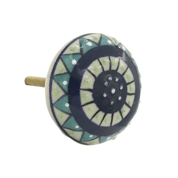 White and Blue Ceramic Dianthus Flower Hand-painted Knobs (Set of 6) 21794447