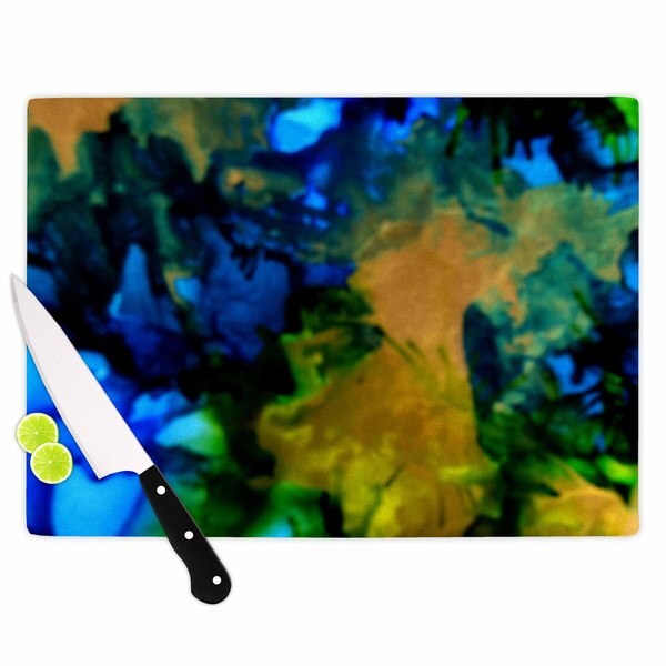 KESS InHouse Claire Day 'Relax' Blue Yellow Cutting Board