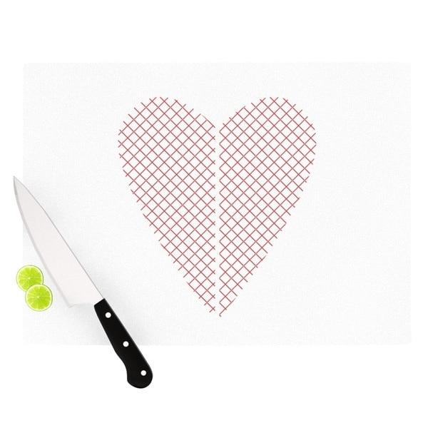 KESS InHouse Belinda Gilles 'Cross My Heart' Red White Cutting Board