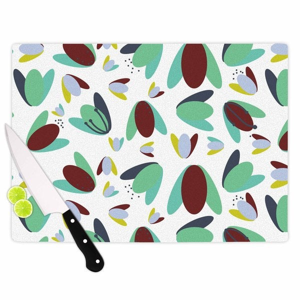KESS InHouse Love Midge '70s Floral Geometric' Green Floral Cutting Board