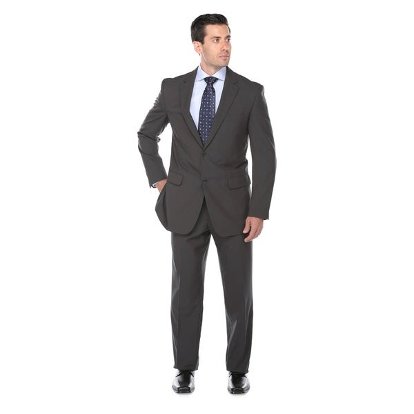 Verno Fashions Men's Grey Polyester/Viscose Birdseye-textured Classic-fit Italian-styled 2-piece Suit