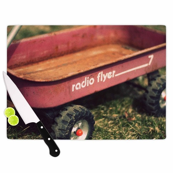 KESS InHouse Angie Turner 'Radio Flyer' Red White Cutting Board
