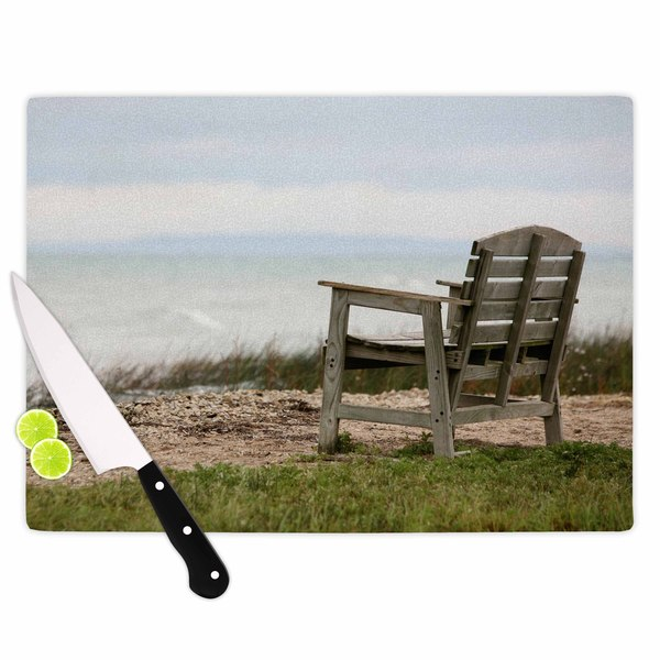 Kess InHouse Angie Turner 'Beach Bench' Blue and Green Tempered Glass Cutting Board