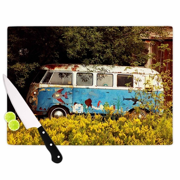 KESS InHouse Angie Turner Hippie Bus Blue Yellow Cutting Board