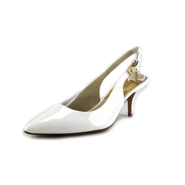 Michael Michael Kors Women's 'Kelsey Kitten Sling' White Patent Leather Dress Shoes