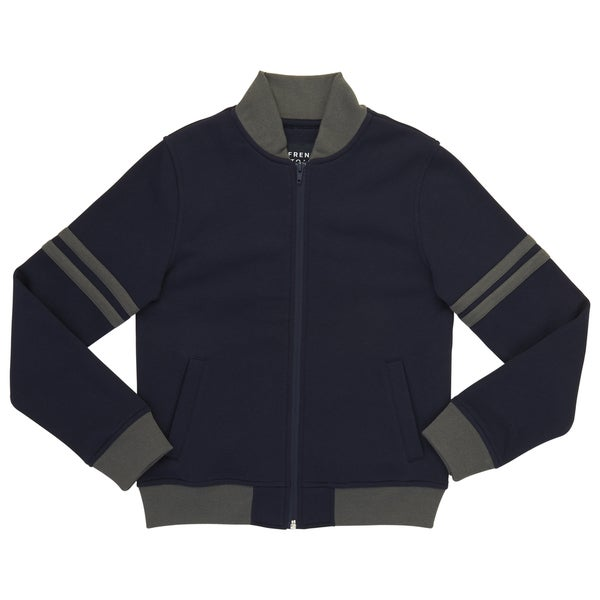 French Toast Boy's Navy/Grey Cotton/Polyester Fleece Zip-up Bomber Jacket