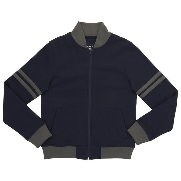 French Toast Boy's Navy/Grey Cotton/Polyester Fleece Zip-up Bomber Jacket