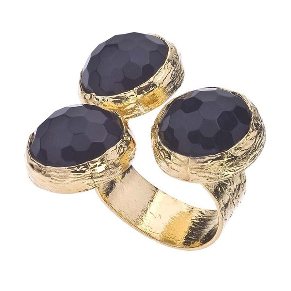18k Gold over Silver Onyx Floating Ring