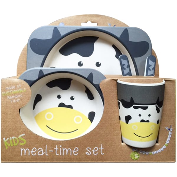 Bamboo Fiber Cow Kids Plate Set