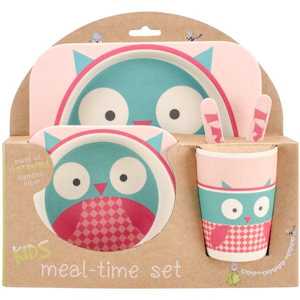 Bamboo Fiber Owl Kids Plate Set