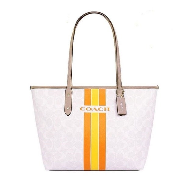 Coach Signature Silver/Chalk/Orange Coated-canvas/Leather/Fabric Varsity Stripe City Zip Tote