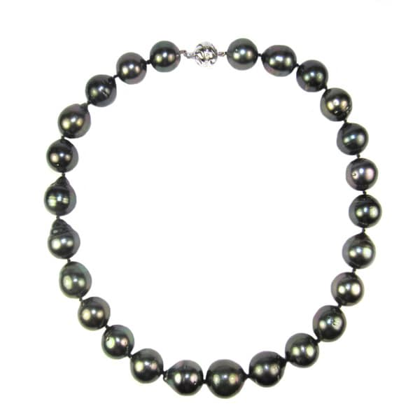 Pearl Lustre 14k White Gold Tahitian Pearl Necklace (15-17mm)