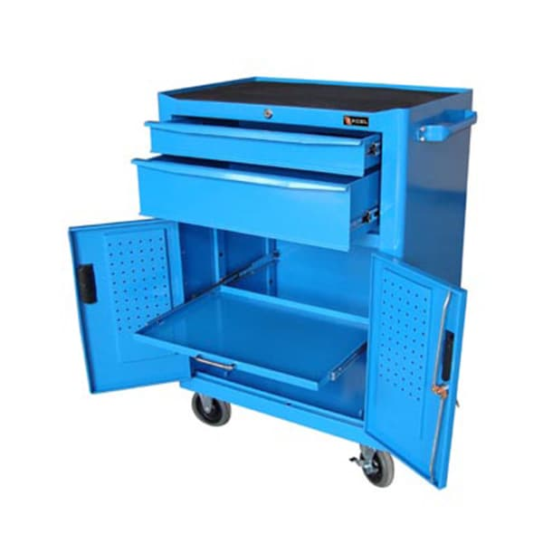 ExcelHardware 2-drawer Blue Metal Tool Chest Roller Cabinet with Pedboard