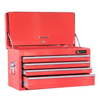 ExcelHardware 4-drawer Multipurpose Portable Red Metal Toolbox Chest With Tray