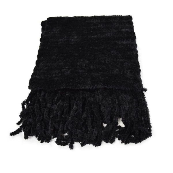 Black Acrylic/Knit Hypoallergenic Chenillle Scarf
