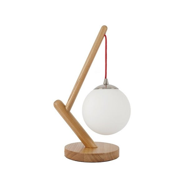 Globe Shade Wood Lantern Table Lamp
